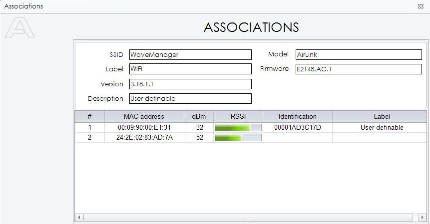 WaveManager screenshot : Associations